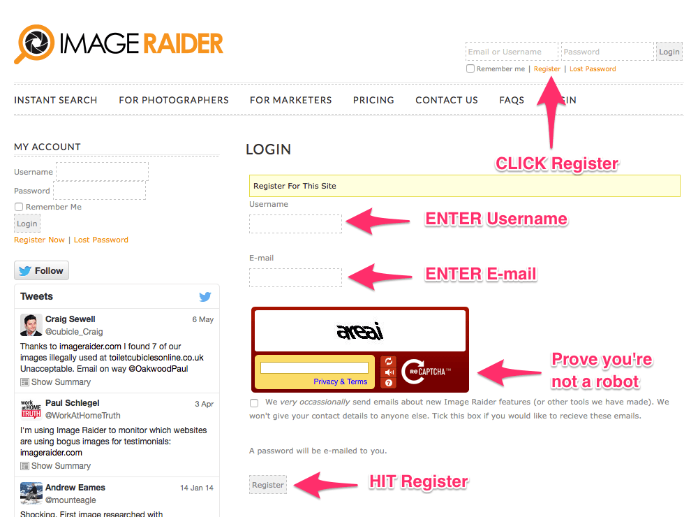 Image Raider - Register Account